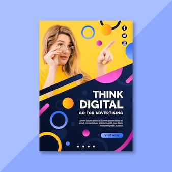 Think digital woman with glasses flyer print template