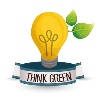 Think Green concept with icon design