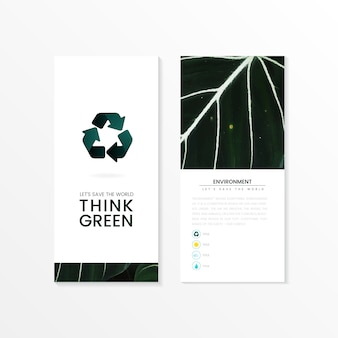 Think green environmental conservation brochure vector
