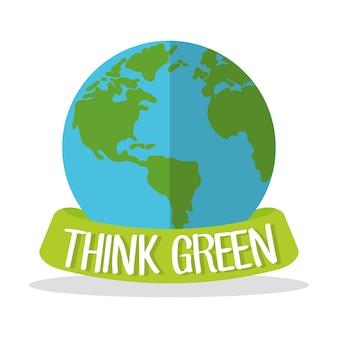 Think green globe world