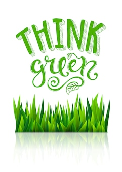 Think green lettering with grass