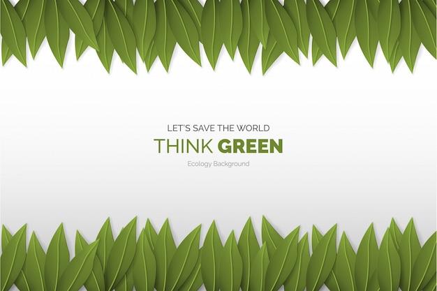 Подумайте зеленый современный фон с листьями Бесплатные векторы