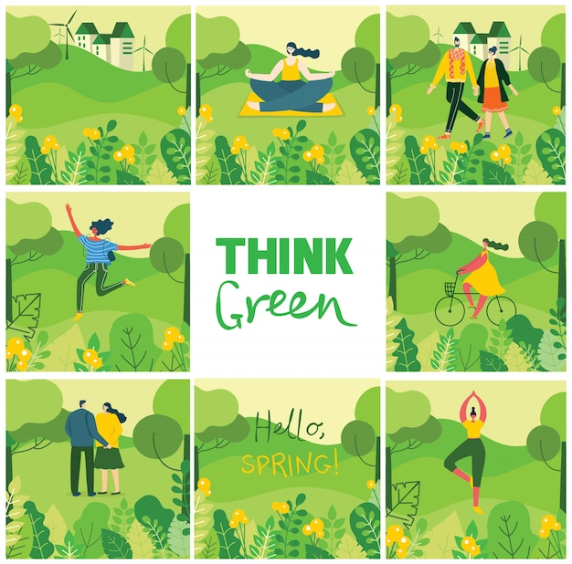 Think green. nature eco background with different people, couple doing activities, yoga, sport, walking and have a rest outdoor, in the forest and park in the flat style