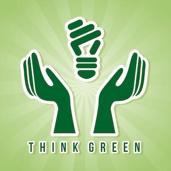 녹색 배경 벡터 일러스트 레이 션을 통해 녹색 생각