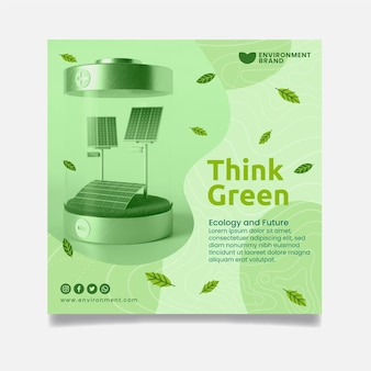 Think green squared flyer template