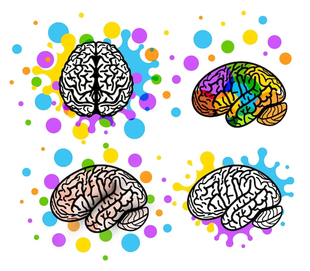 アイデアロゴコンセプト脳シルエットデザインベクトルアートイラストロゴセットテンプレートを考える