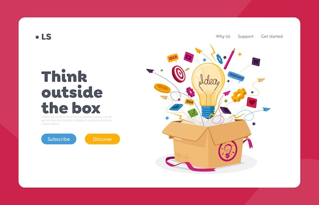 Think outside the box business landing page template. open carton package with light bulb, stationery icons and office supplies flying out