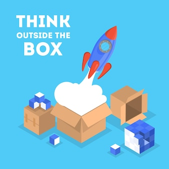 Think outside the box web banner. creative thinking