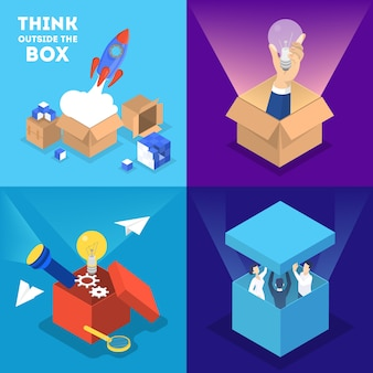 Think outside the box web banner set.