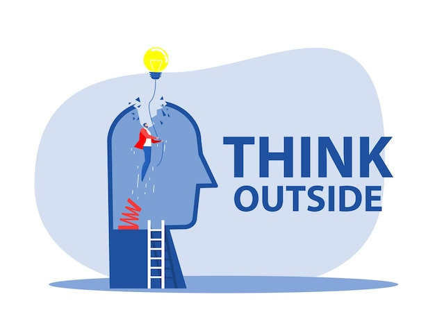 Think outside , original businessman person rising up high with lamp bulb, metaphor of innovation, energy, brainstorm and inspiration. vector creative stylized illustration