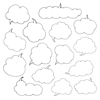 Think talk speech bubbles. artistic collection of hand drawn doodle style comic balloon, cloud and heart.   illustration in sketch style.