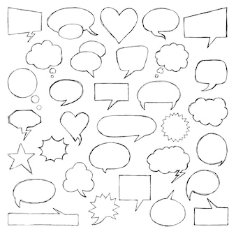 Think talk speech bubbles. artistic collection of hand drawn doodle style comic balloon.
