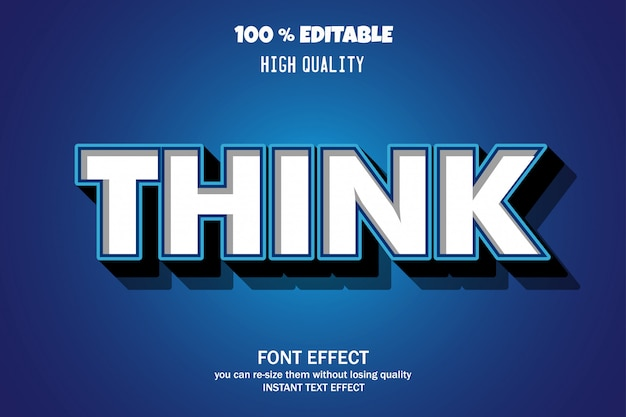 Think text, editable font effect