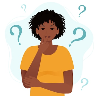 疑問符でアフリカの女性を考えています。フラット漫画スタイルのベクトル図