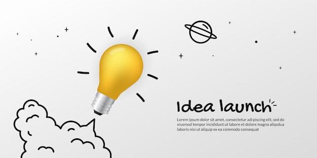 Реалистичная лампочка запускается в космос, бизнес-концепция thinking art