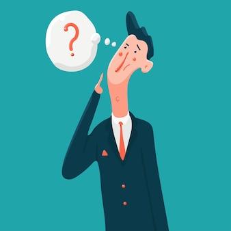 Мышление деловой человек с персонажем из мультфильма вопросительный знак, изолированные на фоне.