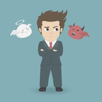 Thinking businessman choosing between devil or angel