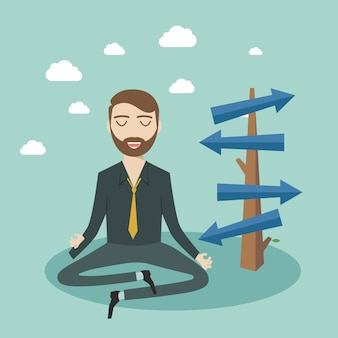 Thinking businessman meditating front of crossroad and selecting the best solution. possibilities for business concept.