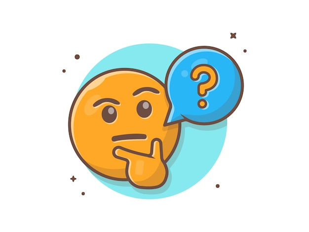 Thinking and confusing face emotclip-art with question speech bubble and thumb vector clip-art illustration