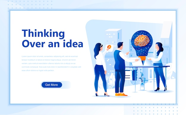 Thinking over an idea flat landing page template of homepage