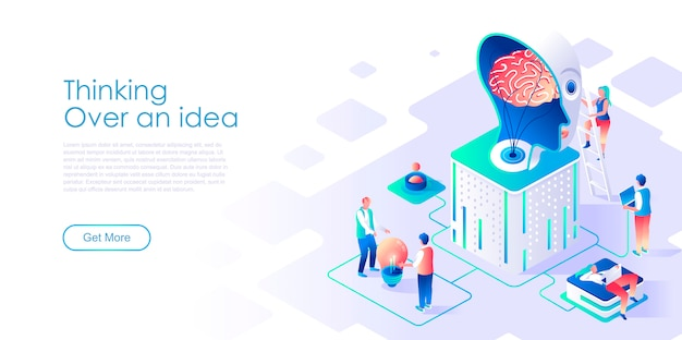 Thinking over idea isometric landing page template