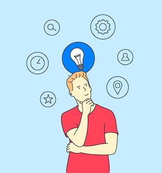Бизнес-концепция поиска идеи мышления Premium векторы