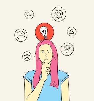 생각 아이디어 검색 비즈니스 개념