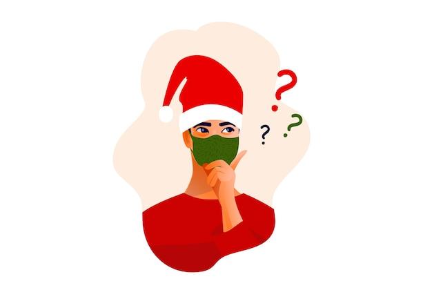 Думающий человек в рождественской шляпе и медицинской маске. красивое лицо, сомнения, проблемы,
