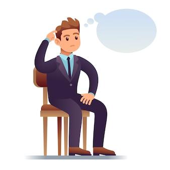 考える人。空の思考バブルの椅子に座っているビジネスマンを傷します。疑いイラストで心配している人