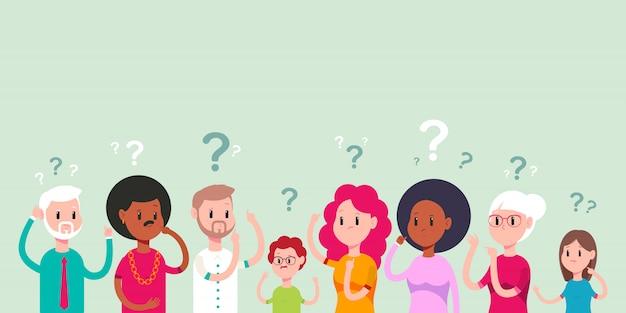 생각 남자, 여자와 어린이 캐릭터 만화 일러스트 레이 션에 고립.