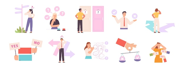 Thinking people choose path or option, make decision concept. confusion person choosing button, pathway or door. business dilemma vector set. characters in doubt searching solution