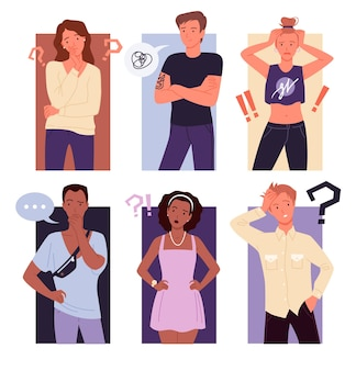Thinking people confuse set. cartoon young thoughtful male female character standing with question exclamation marks, confused gesture of guy and girl