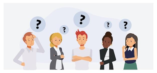 思考する人々のグループ。不安のキャラクター、人々は考えて混乱している、ビジネスチームと社会集団。フラット