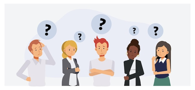 Thinking people group. anxiety characters, people are thinking and confused, business team and social group.flat