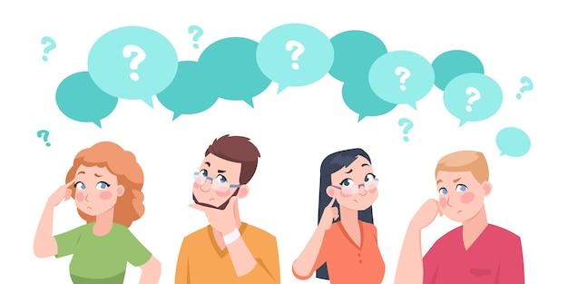 Иллюстрация группы думающих людей