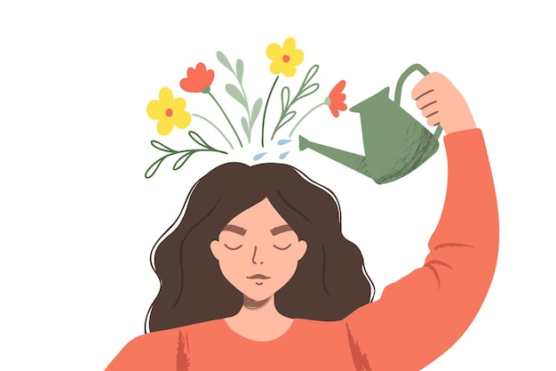Thinking positve as a mindset. woman watering plants that symbolize happy thoughts. flat illustration