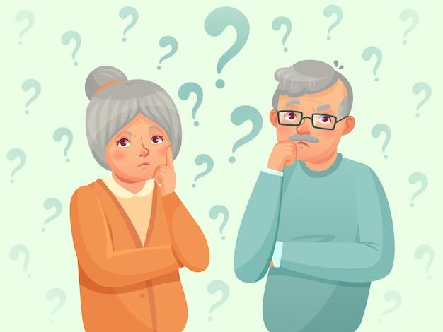 Мышление старших пара. смущены пожилые люди. дедушка, бабушка забывают и пытаются вспомнить карикатуру иллюстрации