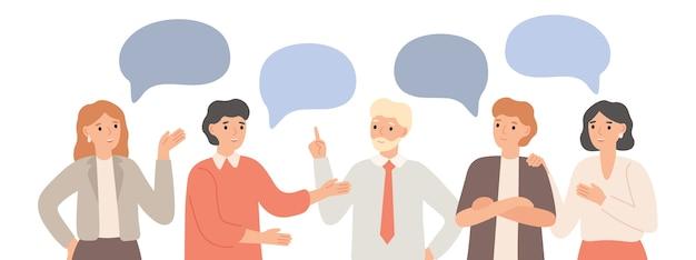 思考チーム。チームワークのコミュニケーション、オフィスワーカーのコミュニケーションとプロジェクトについての話し合い