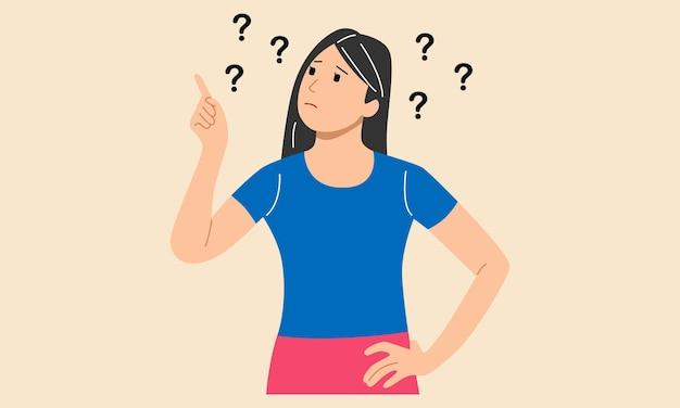 Думающая женщина с вопросительными знаками