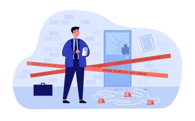 Thinking young detective standing at crime scene near dead body white line   illustration. cartoon inspector or spy making motes and finding criminals. investigation and police concept