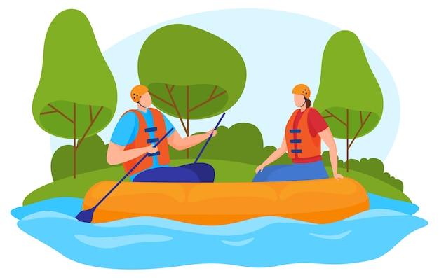 Тиризм, активный образ жизни. мужчина и женщина сплавляются на надувной лодке по реке. мультяшный стиль,