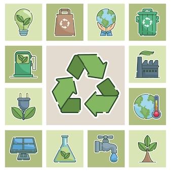 Тринадцать значков концепции экологии