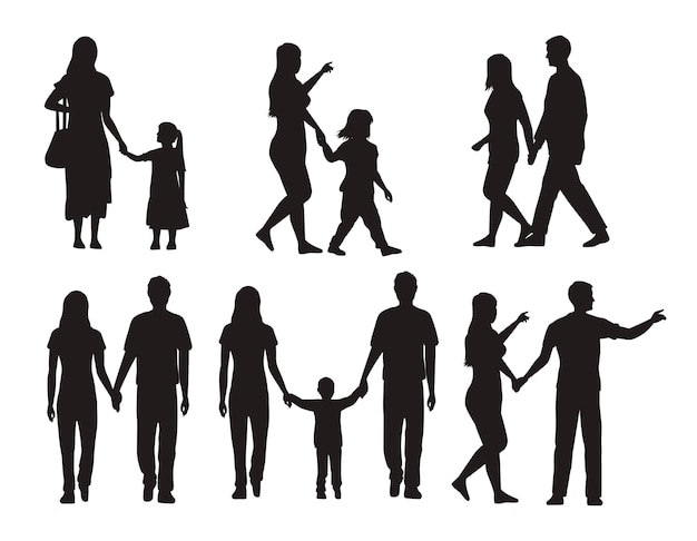 Thirteen family silhouettes Premium Vector