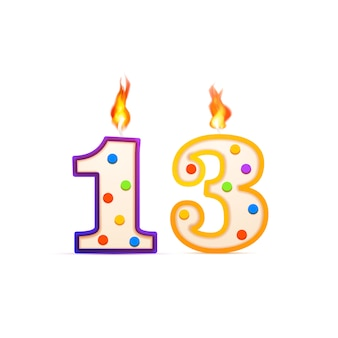 Thirteen years anniversary, 13 number shaped birthday candle with fire on white