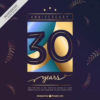 Thirtieth anniversary invitation with leaves