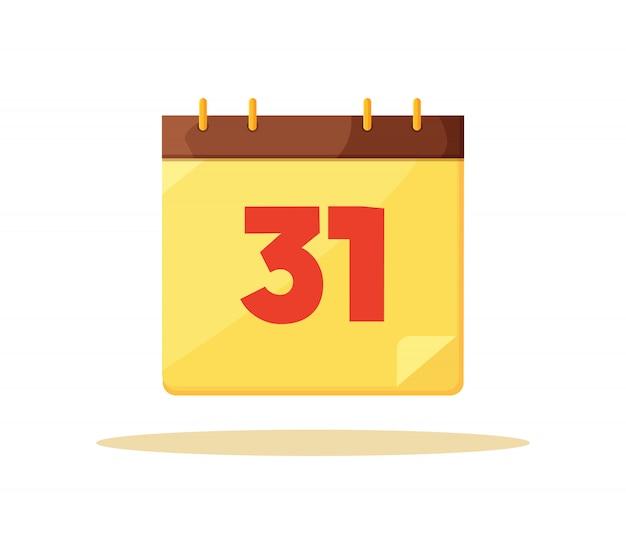 Thirty first calendar day card vector illustration