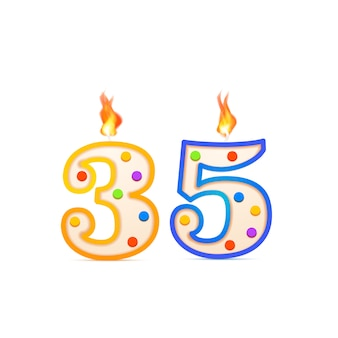 Thirty five years anniversary, 35 number shaped birthday candle with fire on white