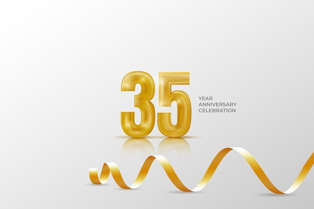 Thirty five years anniversary celebration template with golden number