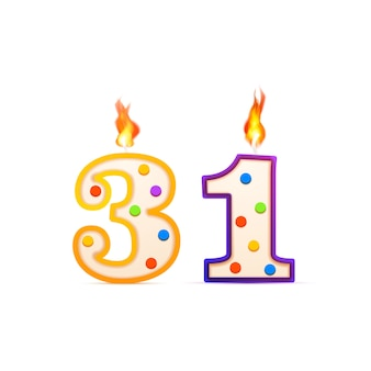 Thirty one years anniversary, 31 number shaped birthday candle with fire on white