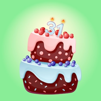 Thirty one years birthday cake with candles. chocolate biscuit with berries, cherries and blueberries. happy birthday illustration